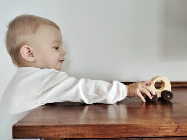 Lesní hraćky - Autíčko Adámek dřevěná hračka na kolečkách dite 3
