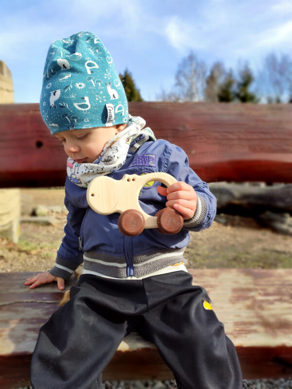 Hrošice Alice dřevěná hračka na kolečkách dite