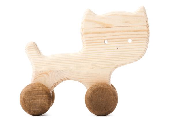 Kočička Nelinka dřevěná hračka na kolečkách 2