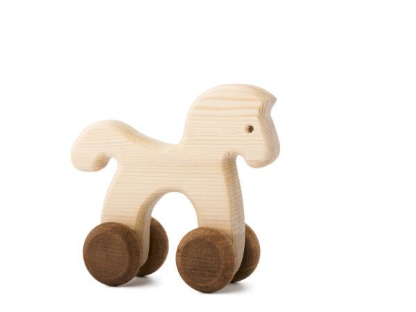 Koníček Janíček dřevěná hračka na kolečkách