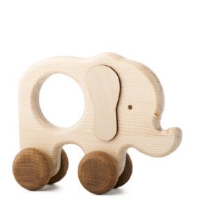 Sloník Toník dřevěná hračka na kolečkách