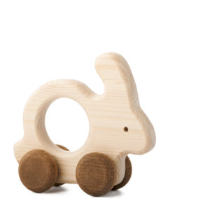Zajíček Tomíček dřevěná hračka na kolečkách