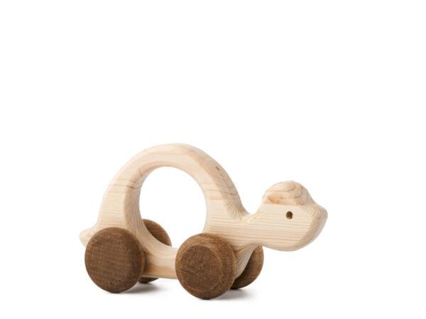 Želva Elva dřevěná hračka na kolečkách