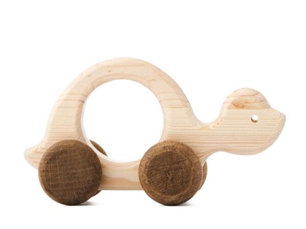 Želva Elva dřevěná hračka na kolečkách 2